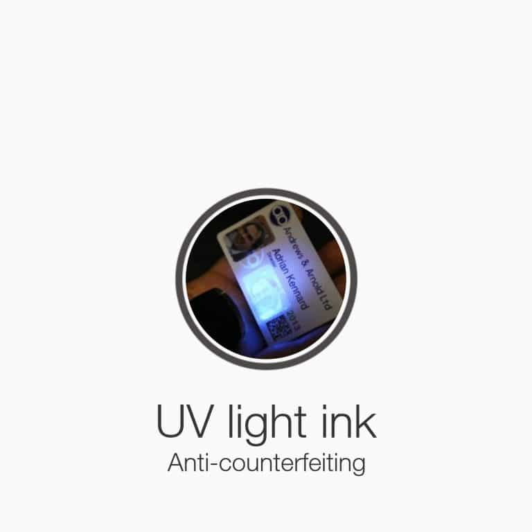 UV light ink plasticcards