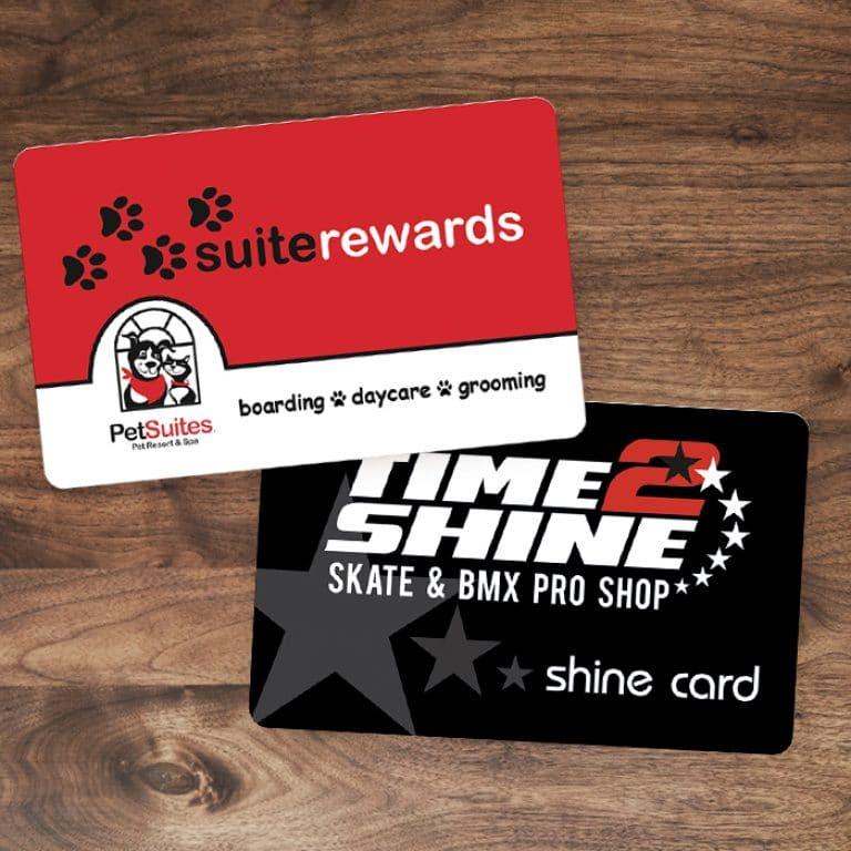plastic reward cards